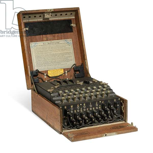 A Three-Rotor Enigma Cipher Machine, c.1937 (electro-mechanical device in enclosing wooden case)