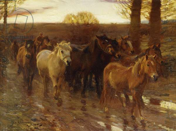 Ponies on a Lane with Shrimp Up, 1910 (oil on canvas)