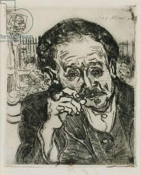 L'Homme a la Pipe: Portrait du Docteur Gachet; Man with a Pipe: Portrait of Doctor Gachet, 1890 (etching)