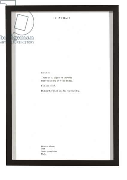 Rhythm 0, from 'The Complete Performances 1973-1975', performed 1974, published 1994 (letterpress)