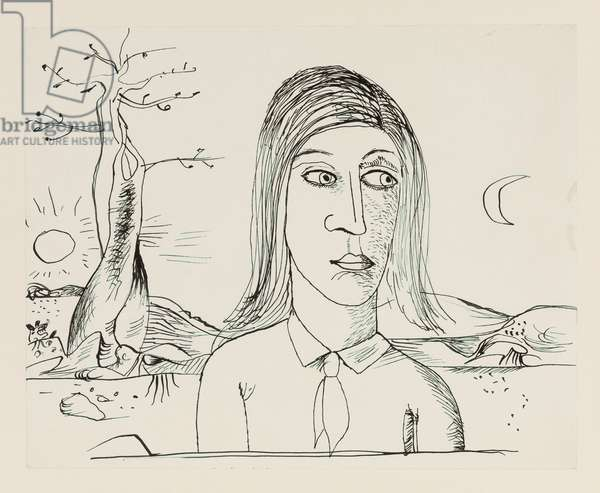 A Freud Figure in a Craxton Landscape, 1944 (pen & ink)