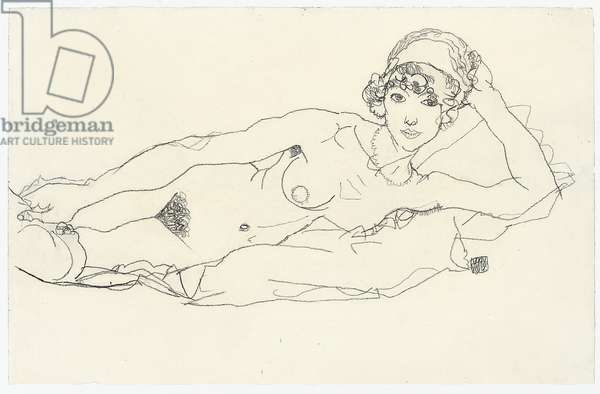 Reclining Nude; Liegender Akt, 1914 (pencil on paper)
