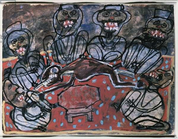 Lamb Roasted on an Open Fire, 1948 (gouache on buff paper)