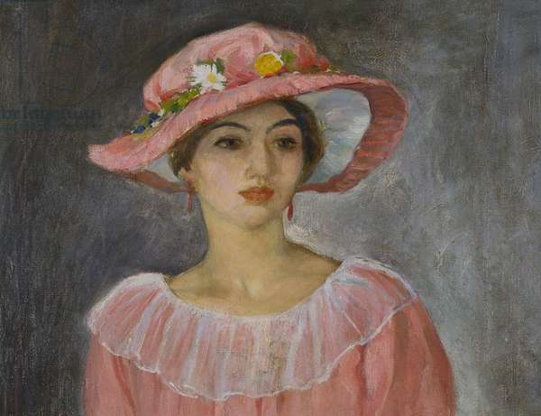 The Pink Hat (oil on canvas)