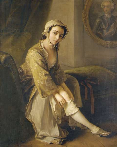 Young woman in a fawn dress (oil on canvas)