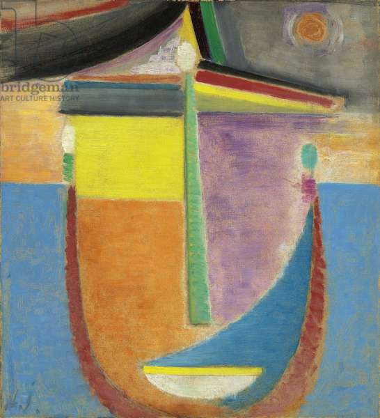 Abstract Head: Composition, 1924 (oil on linen-finish paper laid down on board)