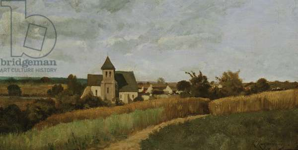 A Village at Harvest Time (oil on canvas)