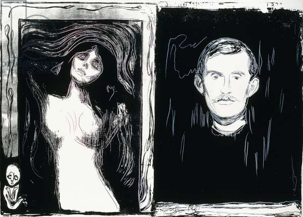 Self Portrait with Skeleton Arm and Madonna (after Edvard Munch), 1984 (synthetic polymer and silkscreen inks on canvas)