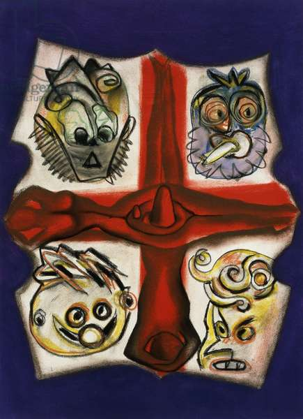 Guardians of the Truth, 1990 (pastel on paper)