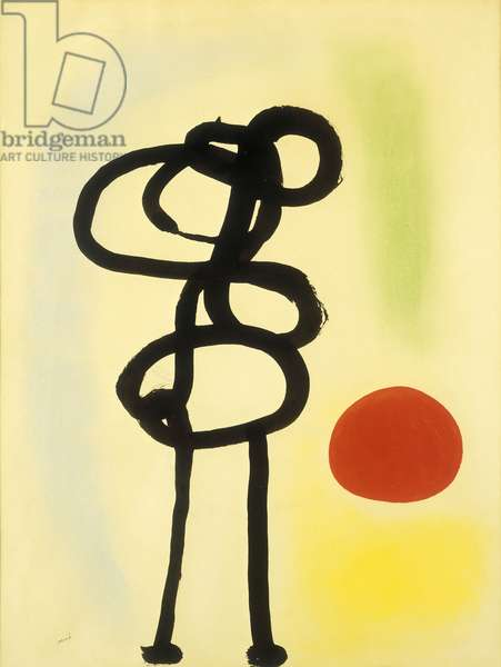 Figure in front of the Sun, 1942 (gouache, pastel, brush and India ink on paper)