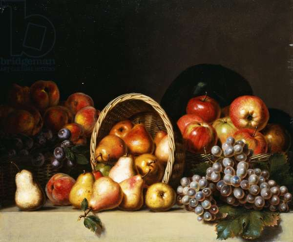 Apples, Pears, Plums and Grapes, (oil on canvas)