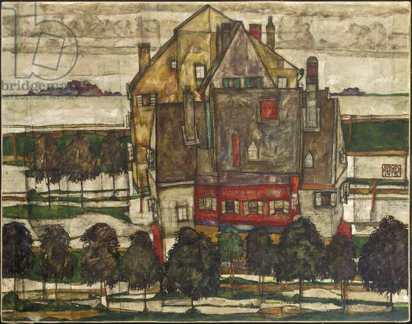 Single Houses (Houses with Mountain) 1915 (oil on canvas)