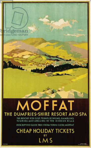 Moffat, Dumfries-shire, poster advertising British Railways (colour litho)
