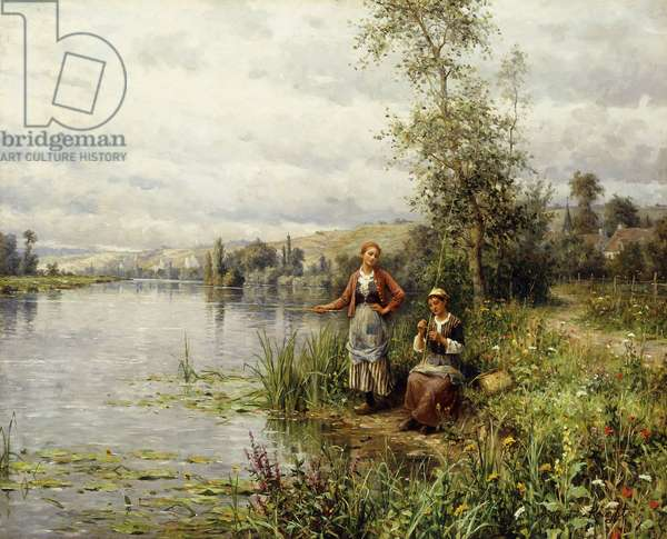 Country Women Fishing on a Summer Afternoon,  (oil on canvas)