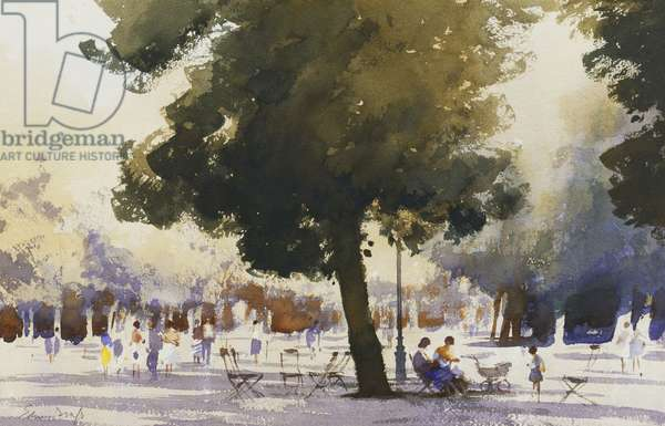 In the Tuilleries, (watercolour)