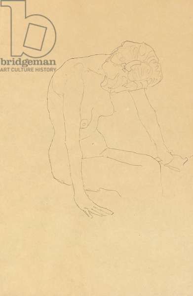 Study of a Female Nude, c.1908-1909 (pencil on buff paper)