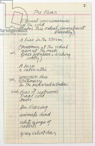 'The Fear', handwritten poem, c.1970 (ballpoint pen on paper)