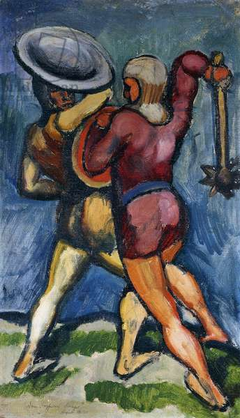 Two Warriors; Zwei Kampfende, 1910 (oil on canvas)
