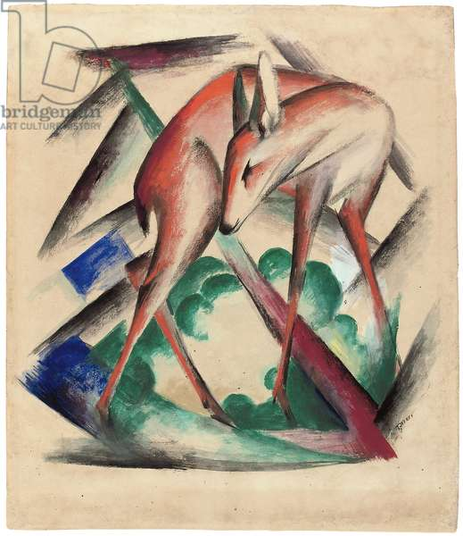 Deer, 1912 (gouache, w/c & pencil on paper)