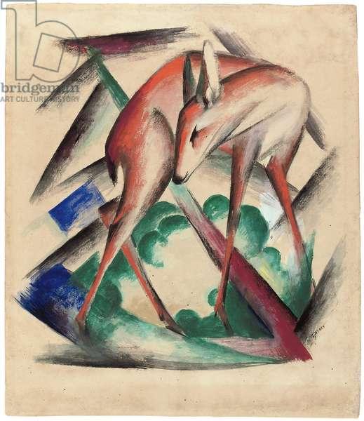 Deer, 1912 (gouache, w/c & pencil on paper)