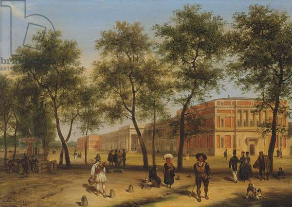 Presumed view of the Paseo del Prado with the Prado Museum, Madrid, 1827 (oil on panel)