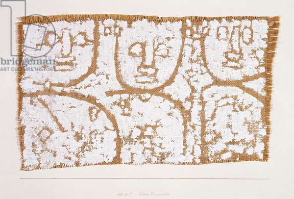 Three Figures; Dreier Einigendes, 1938 (white gesso on burlap laid on artists mount)