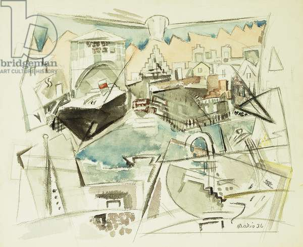Waterfront, Manhattan, 1936 (watercolour, crayon and pencil on paper)