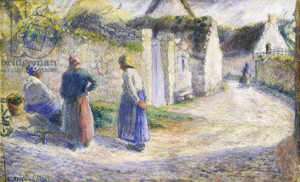 Village Street with Three People on the Right (Valhermeil); Rue de Village avec Trois Paysannes causant a Gauche (Valhermeil), 1881 (gouache on paper)