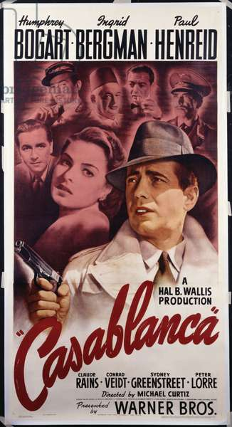 Warner Brothers poster for the film 'Casablanca', 1942 (colour litho)