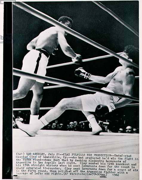 Clay Fulfils His Prediction, winning the fight in the fifth round against Alejandro Lavorante, scoring his 12th knockout and 15th straight victory in Los Angeles, 21st July 1962 (b/w photo)