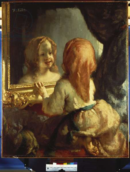 Antoinette Herbert looking in the Mirror, c.1844 (oil on canvas)