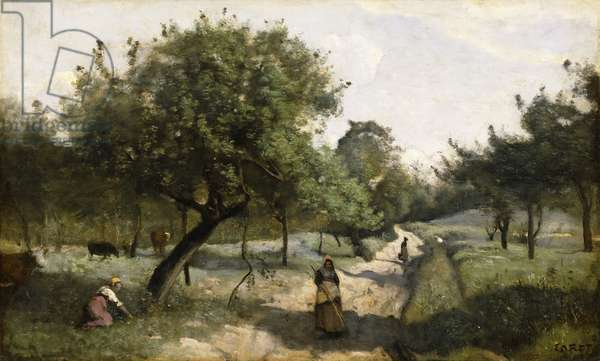 Path with Apple Trees, 1850-60 (oil on canvas)
