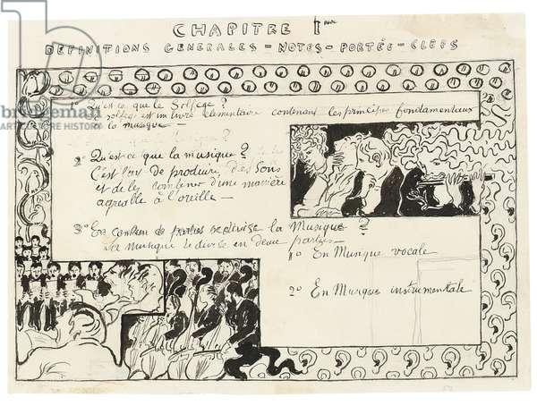 Study for Le Petit Solfège illustré: Chapitre I Définitions générales - Notes - Portées - Clefs, c.1891-93 (pen & black ink and pencil on paper)