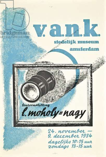 Poster advertising the first major retrospective of Laszlo Moholy-Nagy's work at Amsterdam's Stedelijk Museum in 1934, 1934 (colour litho)
