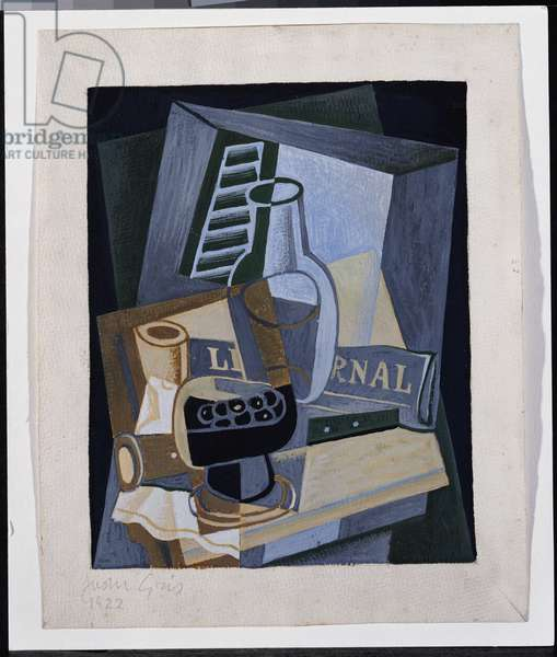 Still Life in Front of a Window, 1922 (gouache & pencil on paper)