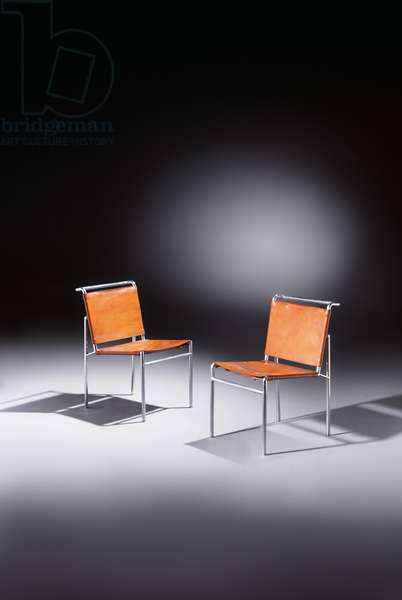 Pair of chairs, c.1930 (leather & nickelled tubular steel)