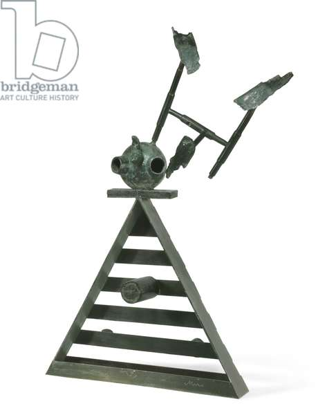 Person and Bird; Personnage et oiseau, 1970 (bronze with brown, red and green patina)