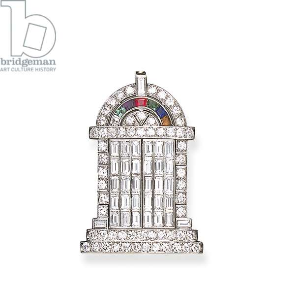 An Art Deco 'Temple of Love' brooch, by Black, Starr & Frost and Gorham & Co. (precious stones)