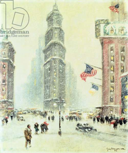 Times Square, Winter (oil on canvas)