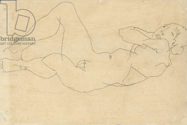 Female Nude with Hands Behind Head, 1914 (pencil on paper)