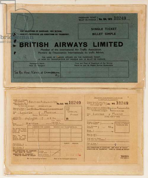 The British Airways passenger ticket issued to British Prime Minister Neville Chamberlain on his historic flight to Munich on 29th September 1938 (printed paper, ink)