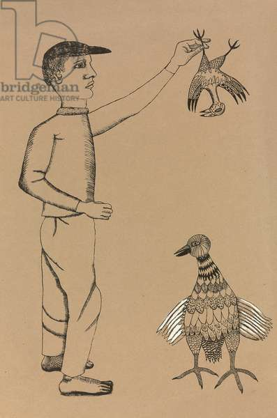 Man with Bird, c. 1942-1943 (lithograph and oil on paper)