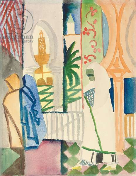 In the Temple Hall; In der Tempelhalle, 1914 (watercolour on thin card)
