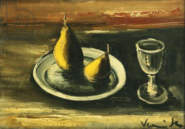 Still Life with Pears and Glass; Nature Morte aux Poires et Verre, (oil on canvas)