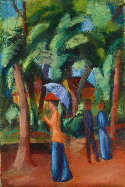 A Stroll in the Park, 1914 (gouache, watercolour, pastel and gum arabic)