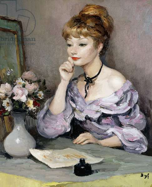 Claudine and an Inkstand; Claudine a l'Ecritoire,  (oil on canvas)