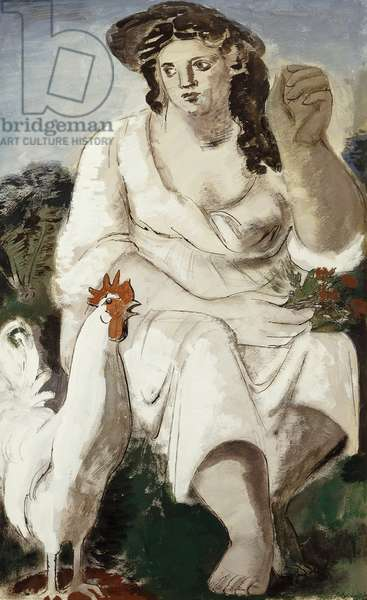 Peasant Girl and White Cockerel, (gouache and pencil)