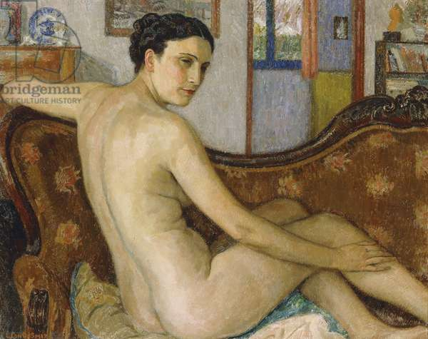 The Bather with her Dog; La Baigneuse avec son Chien - De Baadster met Hondje, (oil on panel)