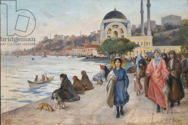 Mafalda on the Banks of the Bosphorus, the Dolmabahce Mosque in the Background (oil on canvas)