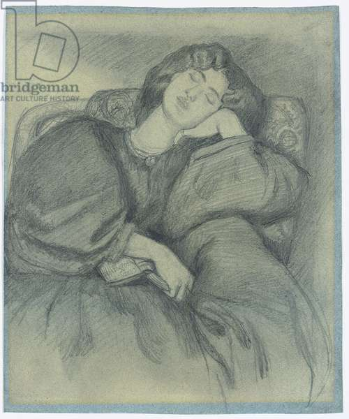 Study of Jane Morris Asleep in an Upholstered Armchair,  (pencil on blue paper)